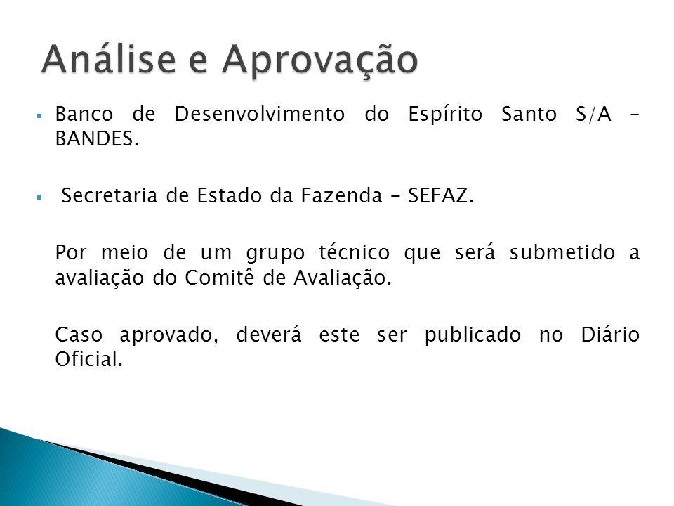 Análise e Aprovação Banco de Desenvolvimento do Espírito Santo S/A – BANDES. Secretaria de Estado da Fazenda - SEFAZ.