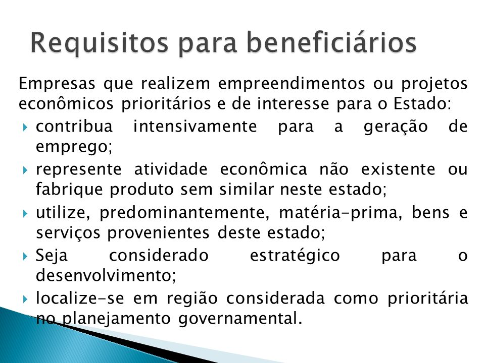 Requisitos para beneficiários