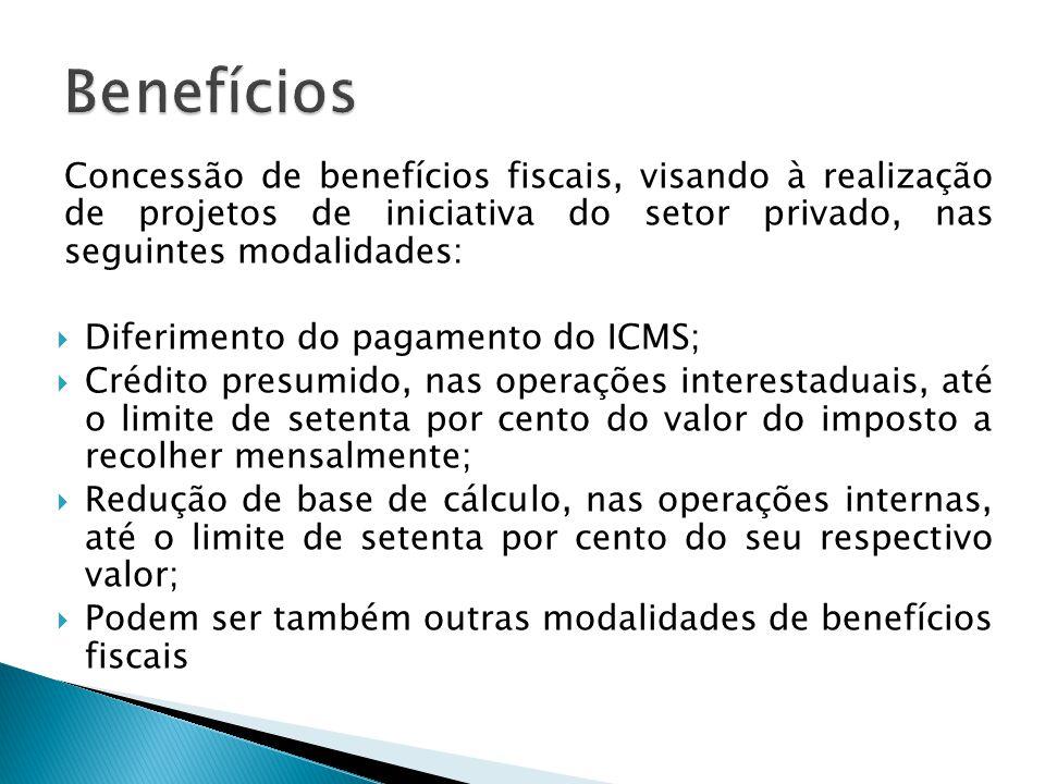 Benefícios Concessão de benefícios fiscais, visando à realização de projetos de iniciativa do setor privado, nas seguintes modalidades: