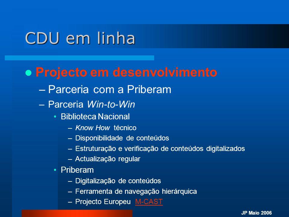 CDU em linha Projecto em desenvolvimento Parceria com a Priberam