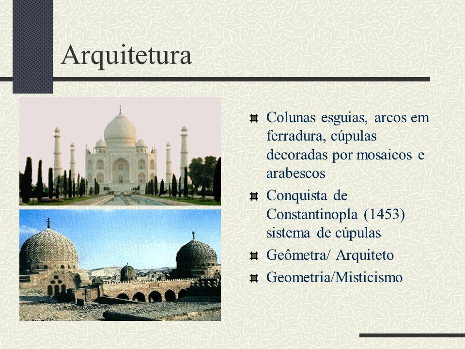 Arquitetura Colunas esguias, arcos em ferradura, cúpulas decoradas por mosaicos e arabescos. Conquista de Constantinopla (1453) sistema de cúpulas.