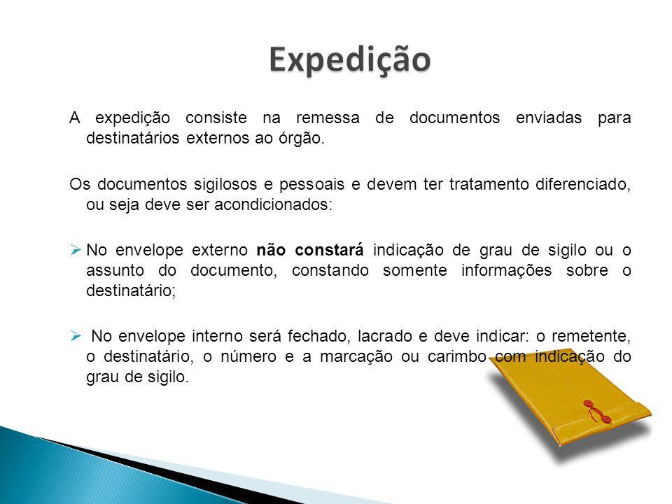 Expedição A expedição consiste na remessa de documentos enviadas para destinatários externos ao órgão.