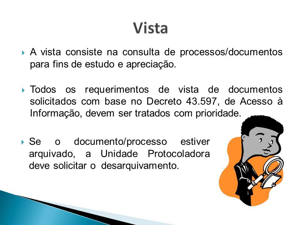 Vista A vista consiste na consulta de processos/documentos para fins de estudo e apreciação.