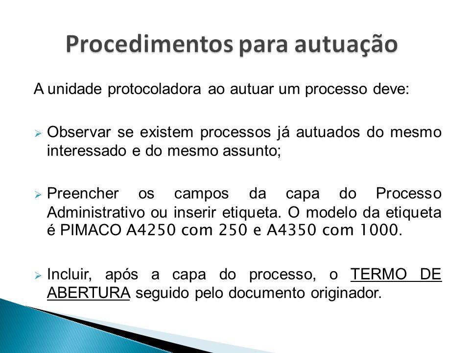 Procedimentos para autuação