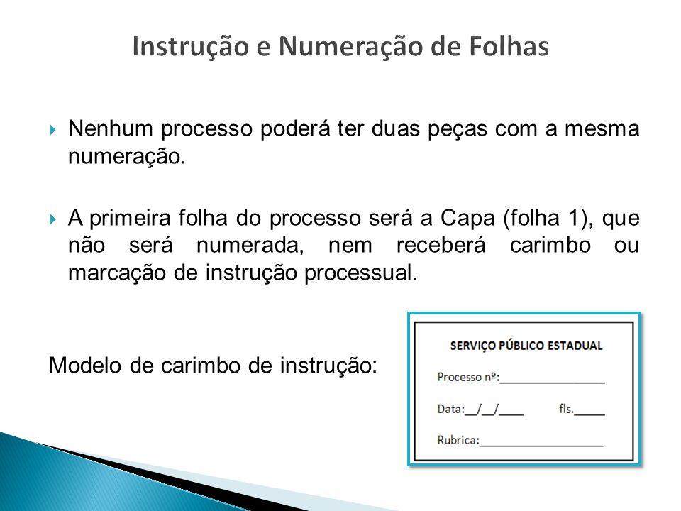 Instrução e Numeração de Folhas
