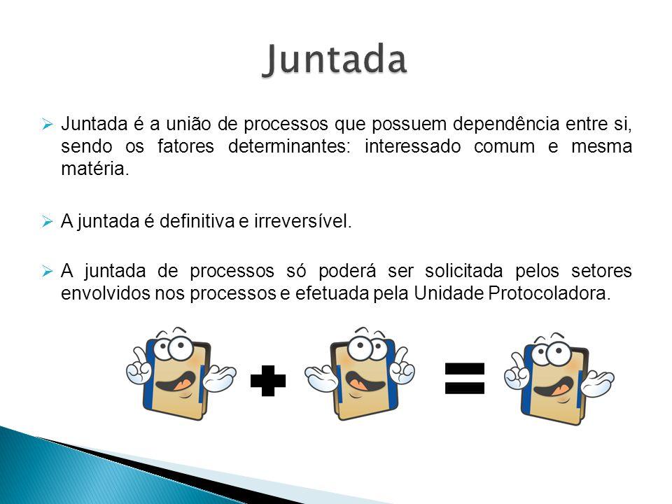 Juntada Juntada é a união de processos que possuem dependência entre si, sendo os fatores determinantes: interessado comum e mesma matéria.