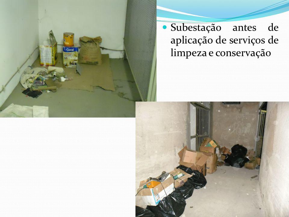 Subestação antes de aplicação de serviços de limpeza e conservação