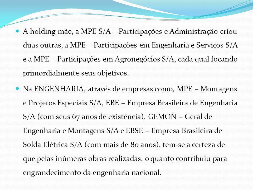 A holding mãe, a MPE S/A – Participações e Administração criou duas outras, a MPE – Participações em Engenharia e Serviços S/A e a MPE – Participações em Agronegócios S/A, cada qual focando primordialmente seus objetivos.