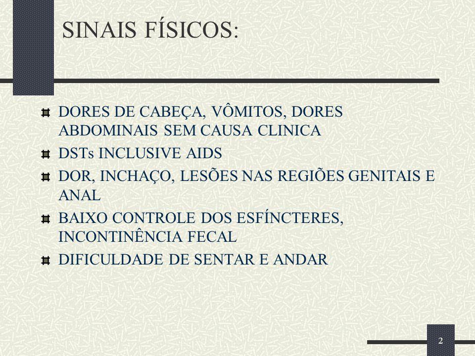 SINAIS FÍSICOS: DORES DE CABEÇA, VÔMITOS, DORES ABDOMINAIS SEM CAUSA CLINICA. DSTs INCLUSIVE AIDS.