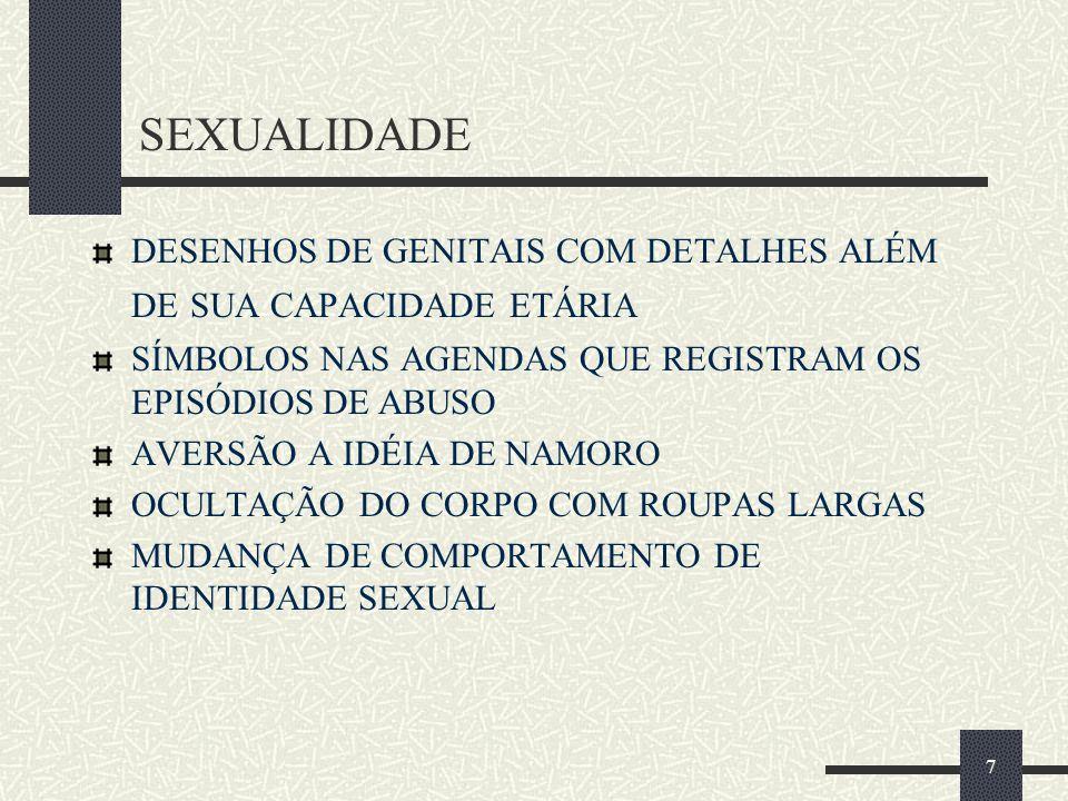 SEXUALIDADE DESENHOS DE GENITAIS COM DETALHES ALÉM DE SUA CAPACIDADE ETÁRIA. SÍMBOLOS NAS AGENDAS QUE REGISTRAM OS EPISÓDIOS DE ABUSO.