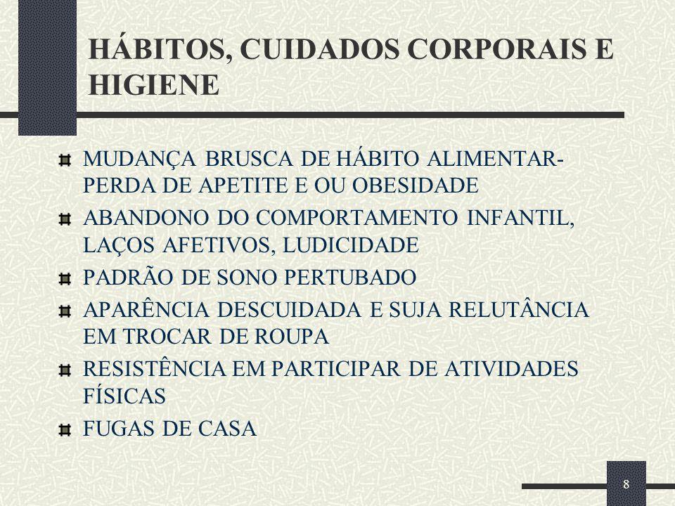 HÁBITOS, CUIDADOS CORPORAIS E HIGIENE