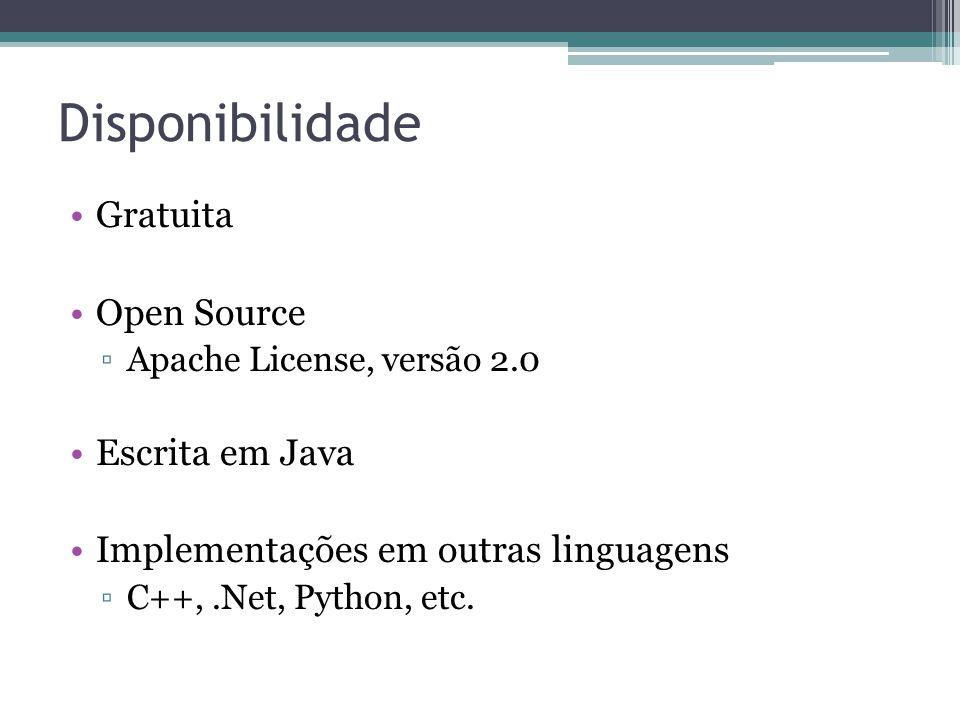 Disponibilidade Gratuita Open Source Escrita em Java