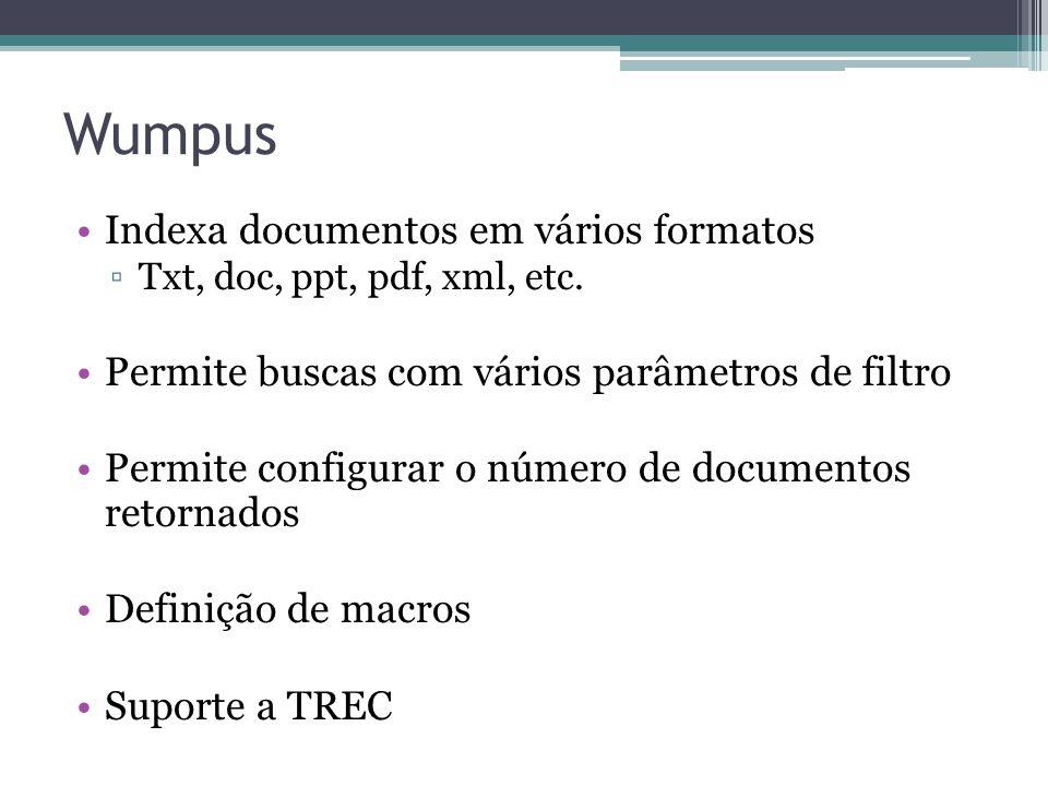 Wumpus Indexa documentos em vários formatos