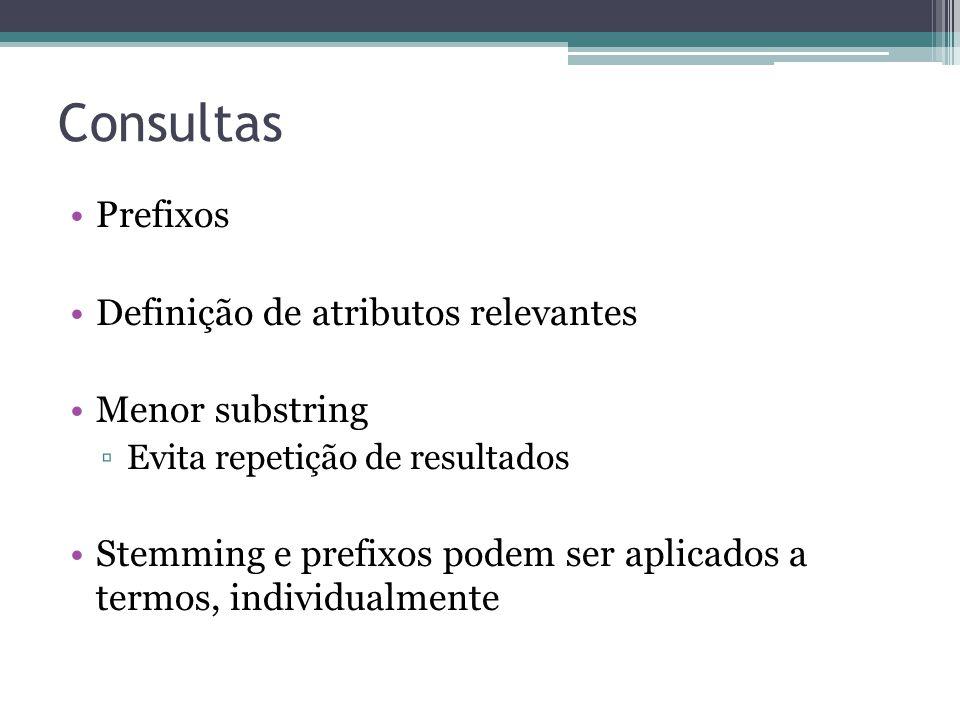Consultas Prefixos Definição de atributos relevantes Menor substring