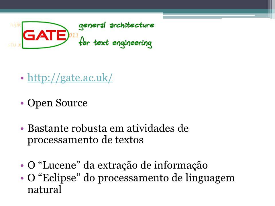 http://gate.ac.uk/ Open Source. Bastante robusta em atividades de processamento de textos. O Lucene da extração de informação.