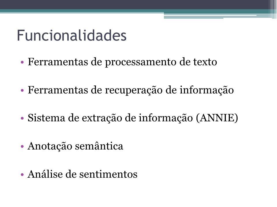 Funcionalidades Ferramentas de processamento de texto