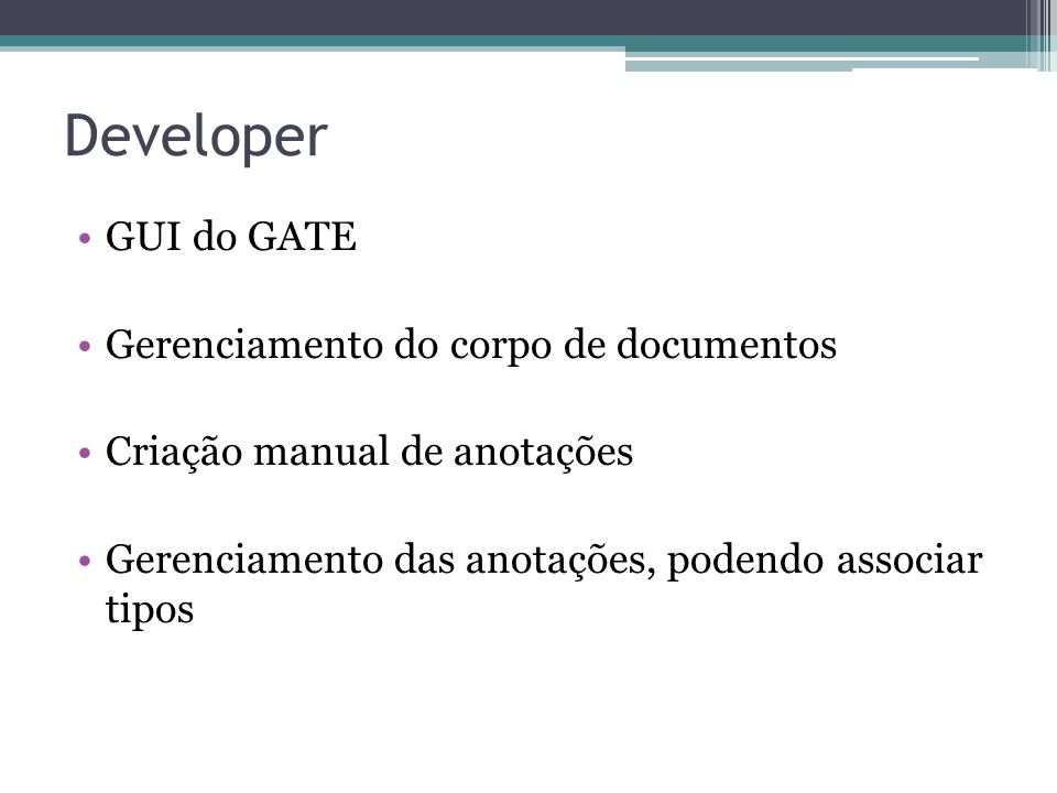 Developer GUI do GATE Gerenciamento do corpo de documentos