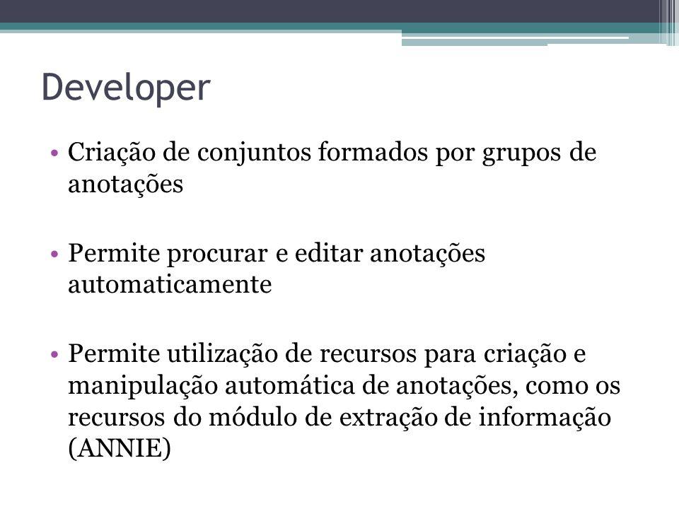 Developer Criação de conjuntos formados por grupos de anotações