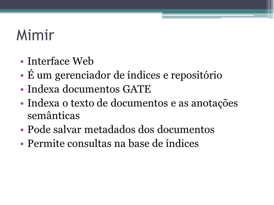 Mimir Interface Web É um gerenciador de índices e repositório