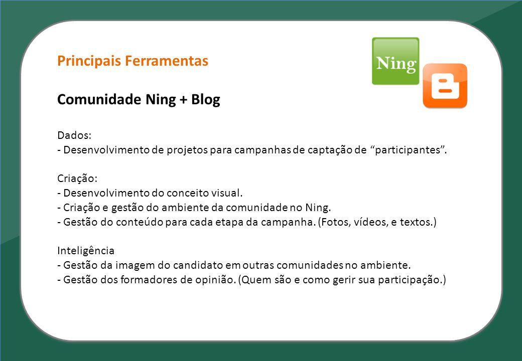 Principais Ferramentas Comunidade Ning + Blog