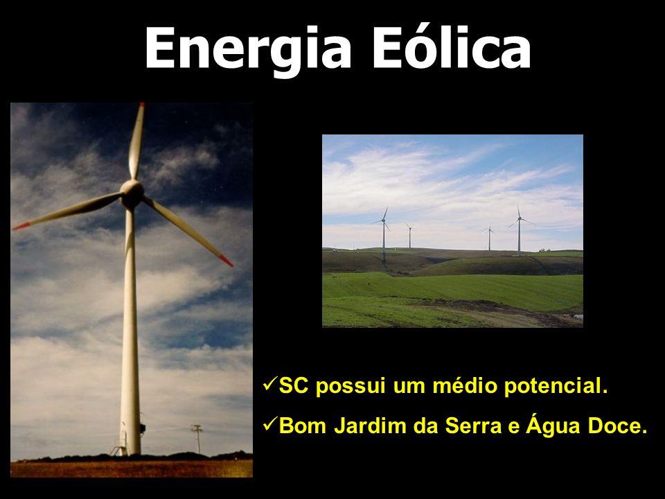 Energia Eólica SC possui um médio potencial.