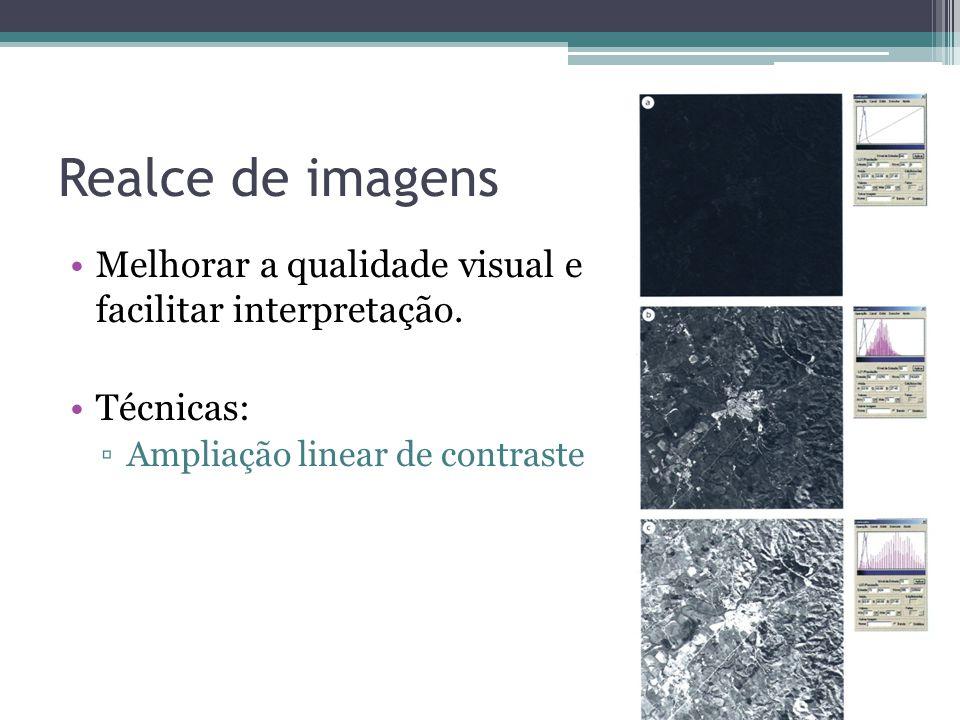 Realce de imagens Melhorar a qualidade visual e facilitar interpretação.