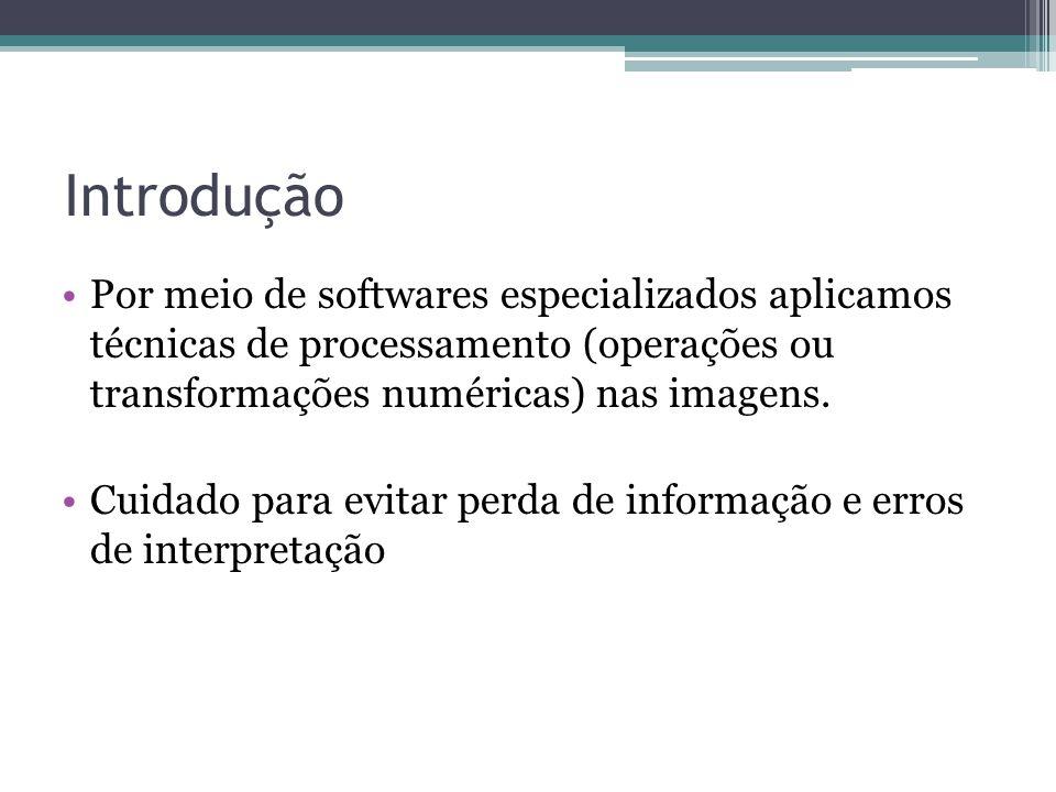 Introdução Por meio de softwares especializados aplicamos técnicas de processamento (operações ou transformações numéricas) nas imagens.