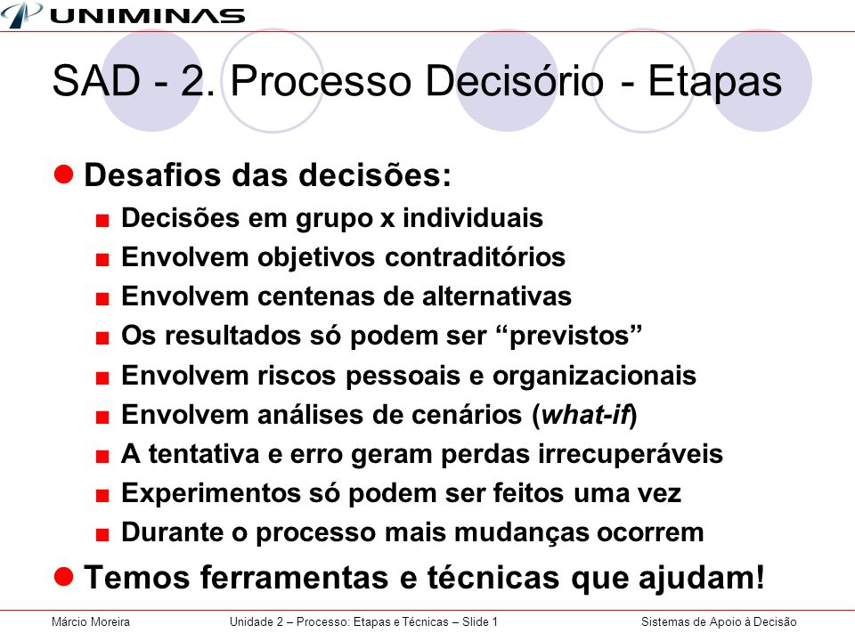 SAD - 2. Processo Decisório - Etapas