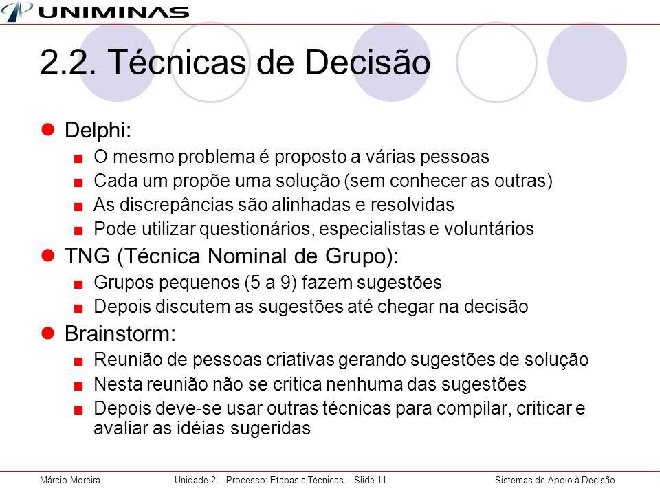 Unidade 2 – Processo: Etapas e Técnicas – Slide 11