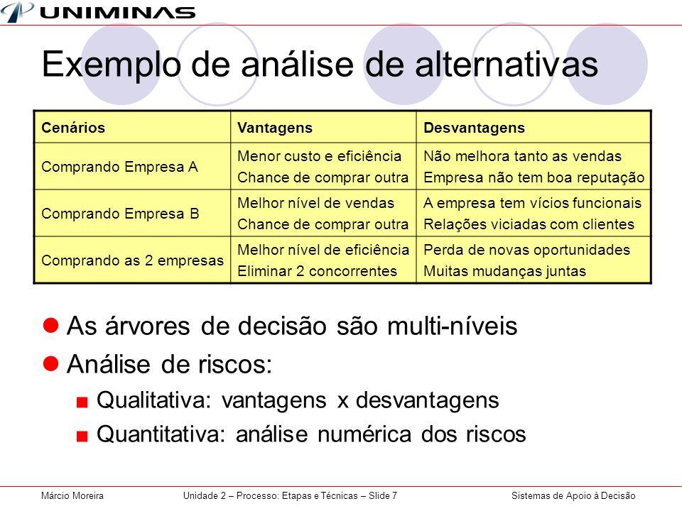 Exemplo de análise de alternativas