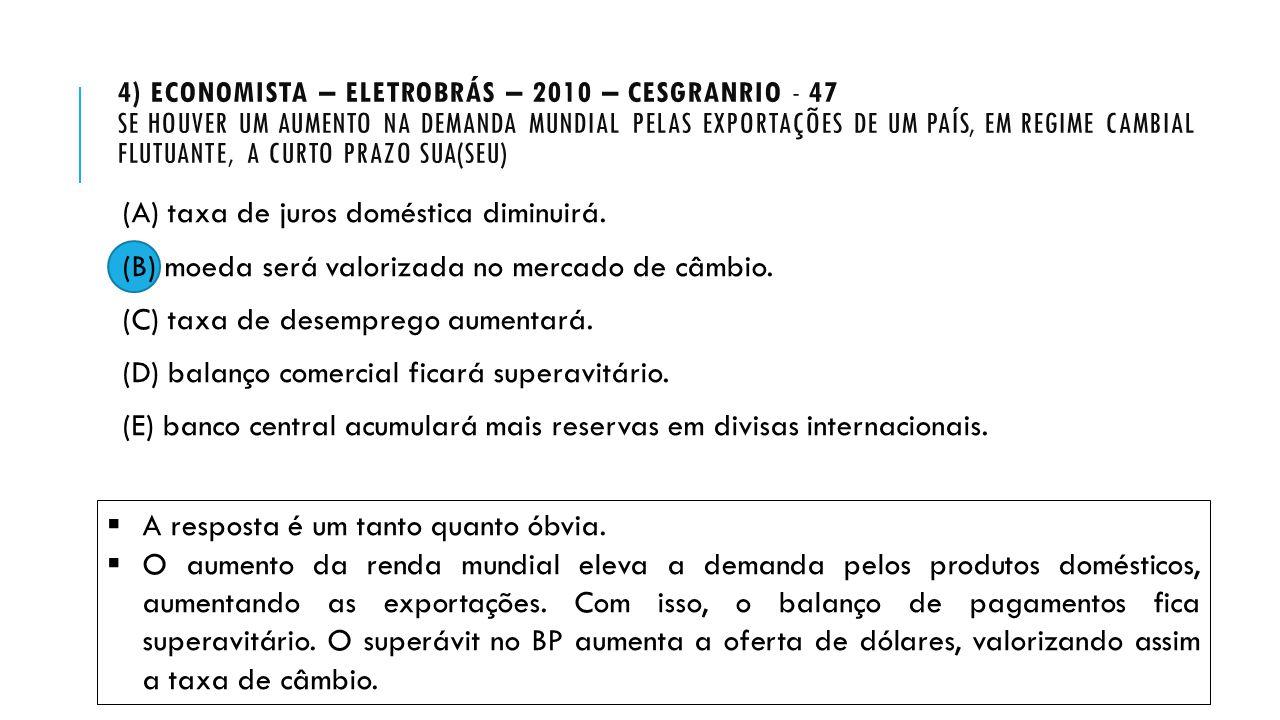 4) Economista – Eletrobrás – 2010 – Cesgranrio - 47 Se houver um aumento na demanda mundial pelas exportações de um país, em regime cambial flutuante, a curto prazo sua(seu)
