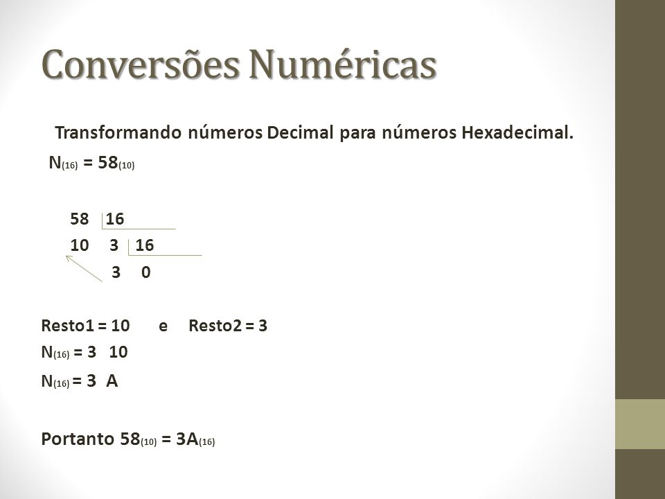 Transformando números Decimal para números Hexadecimal.