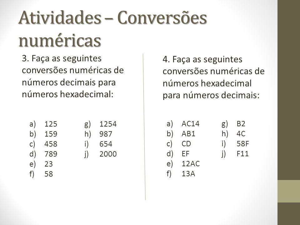 Atividades – Conversões numéricas