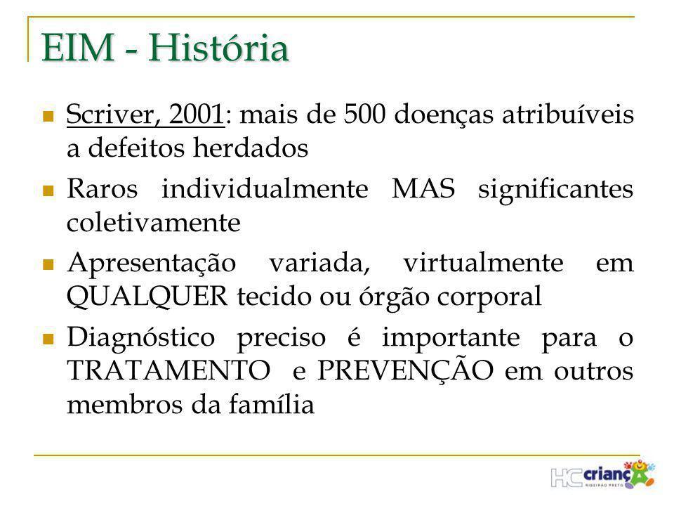 EIM - História Scriver, 2001: mais de 500 doenças atribuíveis a defeitos herdados. Raros individualmente MAS significantes coletivamente.