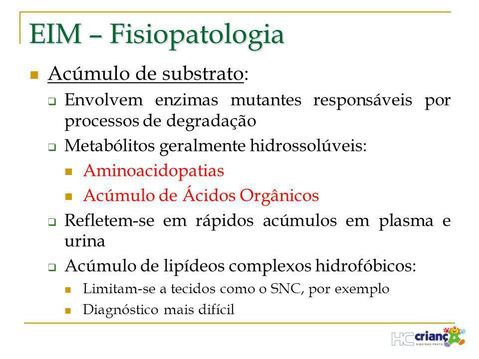 EIM – Fisiopatologia Acúmulo de substrato: