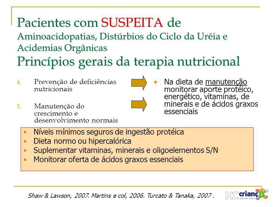 Pacientes com SUSPEITA de Aminoacidopatias, Distúrbios do Ciclo da Uréia e Acidemias Orgânicas Princípios gerais da terapia nutricional