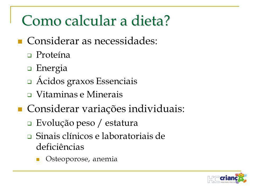 Como calcular a dieta Considerar as necessidades:
