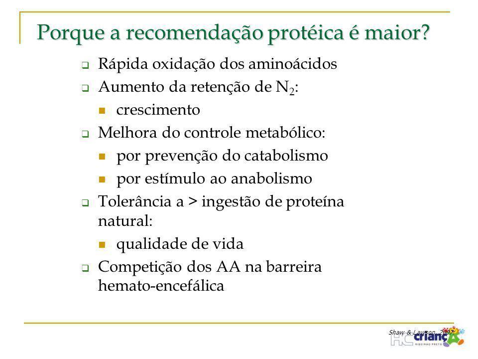 Porque a recomendação protéica é maior