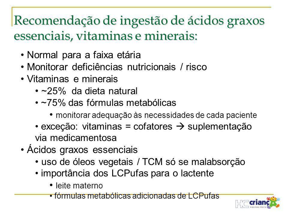 Recomendação de ingestão de ácidos graxos essenciais, vitaminas e minerais: