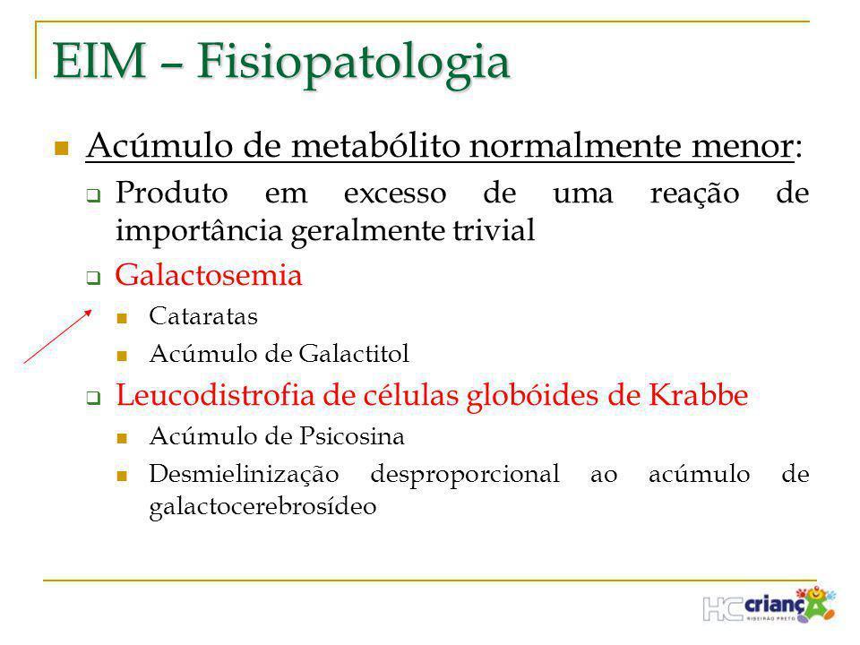 EIM – Fisiopatologia Acúmulo de metabólito normalmente menor: