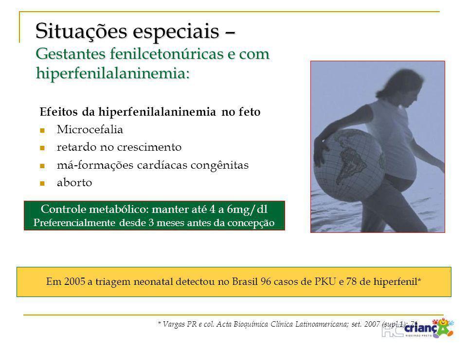 Situações especiais – Gestantes fenilcetonúricas e com hiperfenilalaninemia: