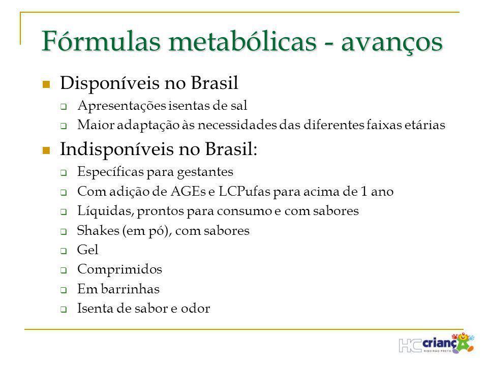 Fórmulas metabólicas - avanços