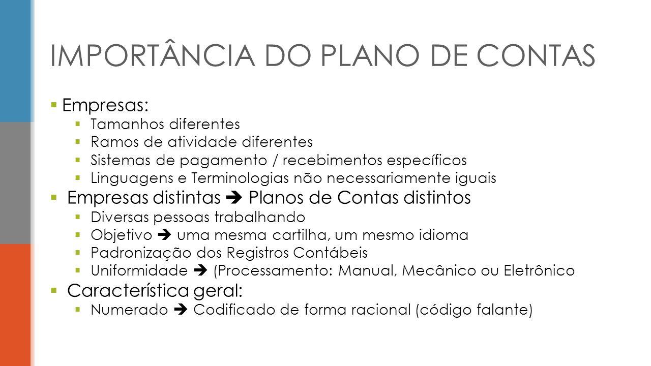 IMPORTÂNCIA DO PLANO DE CONTAS