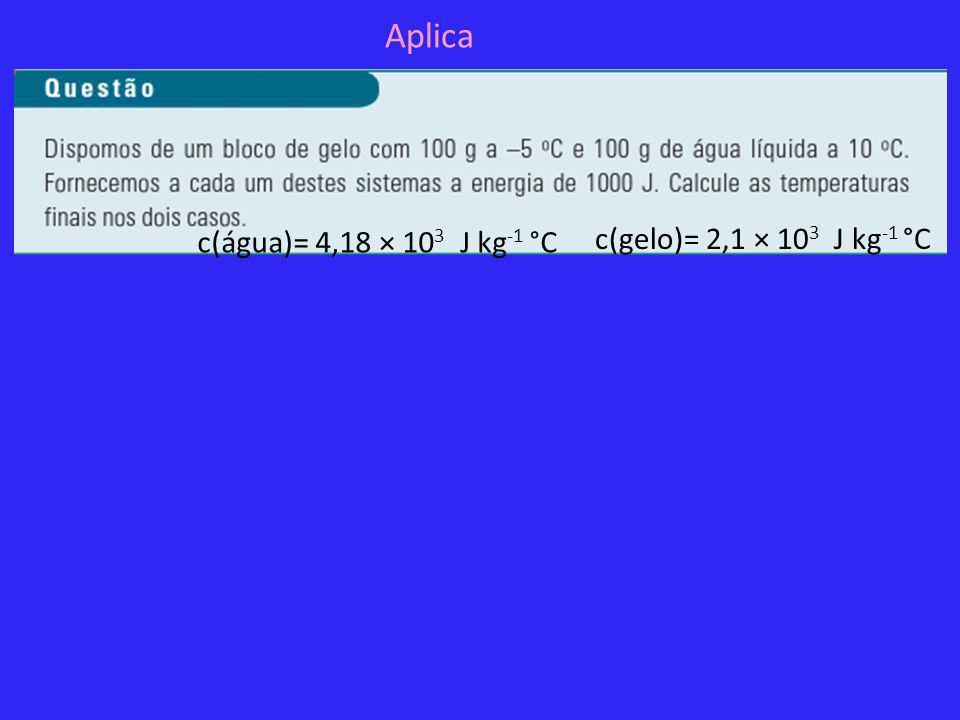 Aplica c(água)= 4,18 × 103 J kg-1 °C c(gelo)= 2,1 × 103 J kg-1 °C
