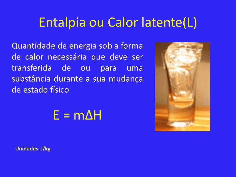 Entalpia ou Calor latente(L)
