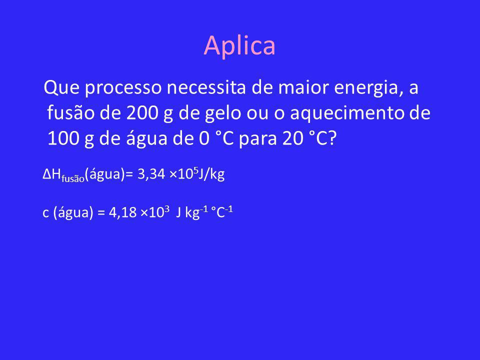 Aplica Que processo necessita de maior energia, a fusão de 200 g de gelo ou o aquecimento de 100 g de água de 0 °C para 20 °C