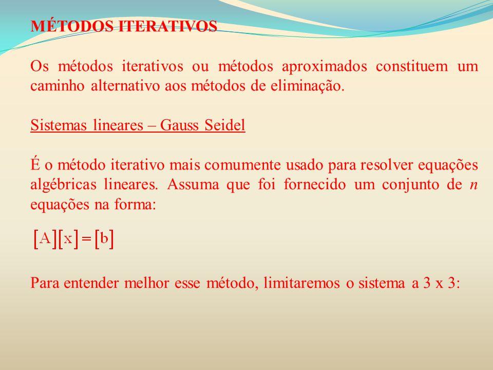 MÉTODOS ITERATIVOS Os métodos iterativos ou métodos aproximados constituem um caminho alternativo aos métodos de eliminação.