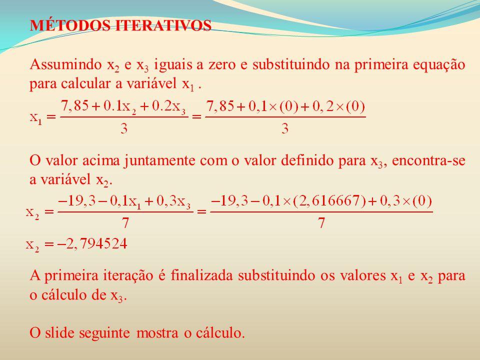 MÉTODOS ITERATIVOS Assumindo x2 e x3 iguais a zero e substituindo na primeira equação para calcular a variável x1 .