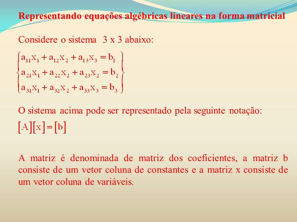 Representando equações algébricas lineares na forma matricial