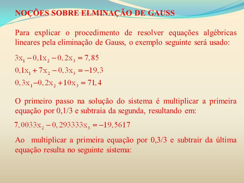 NOÇÕES SOBRE ELMINAÇÃO DE GAUSS